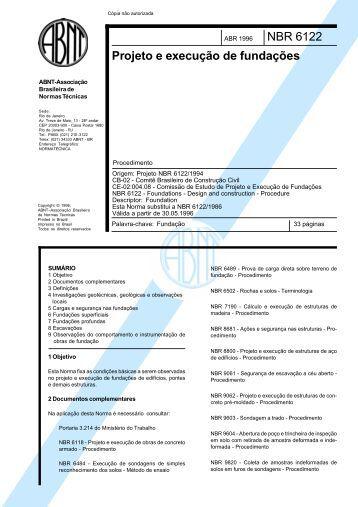 NBR 06122 - 1996Projeto e Execução de Fundações - Grupo Anpla