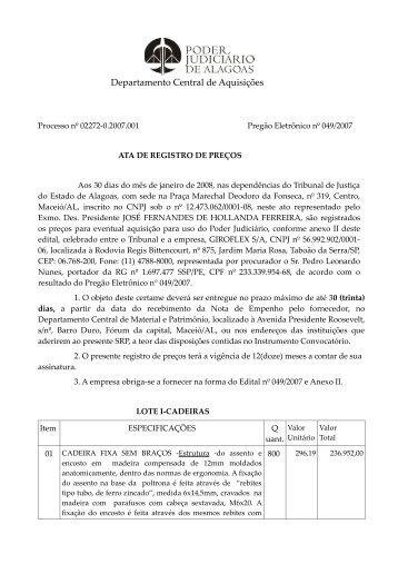 Departamento Central de Aquisições - Tribunal de Justiça de Alagoas