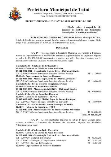 """""""Dispõe sobre a transposição de recursos no âmbito das Sec"""