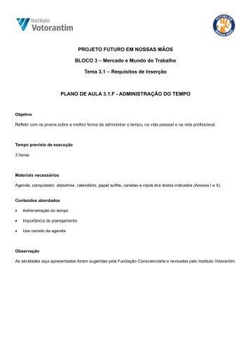 3.1F - Administração do tempo - Instituto Votorantim