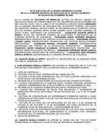acta de la sesin ordinaria o-10-2006 - Instituto Federal Electoral