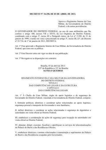 Decreto nº 34.258, de 03 de abril de 2013 - Polícia Militar do Distrito ...