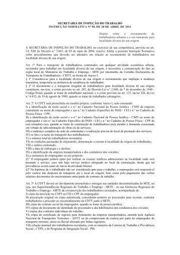 Instrução Normativa Nº 90, de 28/04/2011 - Ministério do Trabalho e ...