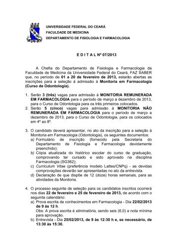 E D I T A L Nº 07/2013 A Chefia do Departamento de Fisiologia e ...