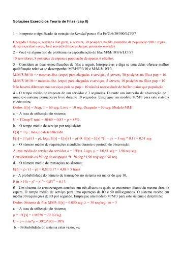 Exercícios Teoria de Filas e Leis Operacionais (cap 8)