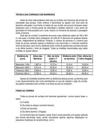 TÉCNICA DAS CORRIDAS COM BARREIRAS Antes de ... - ADECT