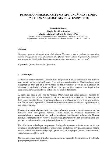 Pesquisa operacional: uma aplicação da teoria das filas a ... - Abepro