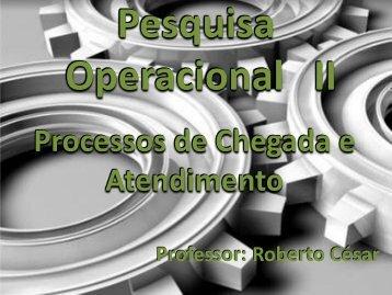 11 – Processos de Chegada e Atendimento - Prof. Roberto César