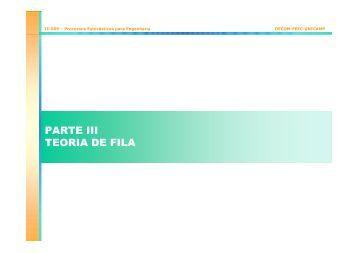 PARTE III TEORIA DE FILA - DECOM - Unicamp