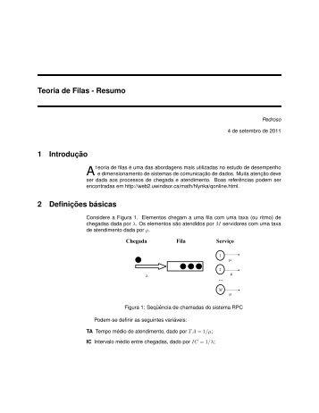 Teoria de Filas - Resumo 1 Introduc¸ ˜ao 2 Definic¸ ˜oes b´asicas