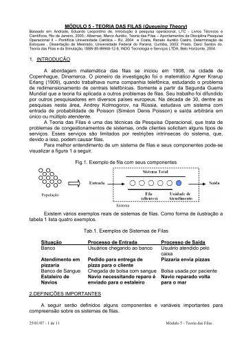 MÓDULO 5 - TEORIA DAS FILAS (Queueing Theory) 1 ...