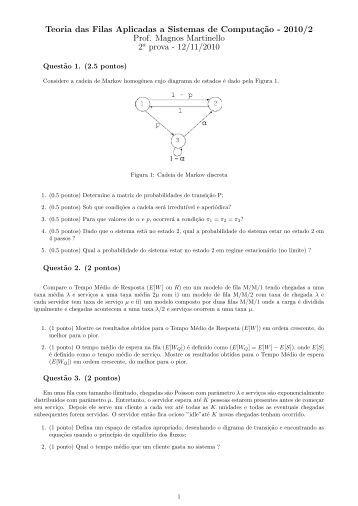 Teoria das Filas Aplicadas a Sistemas de Computaç˜ao - 2010/2 ...