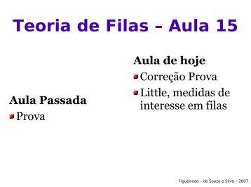 Teoria de Filas – Aula 15 - FISIOCOMP