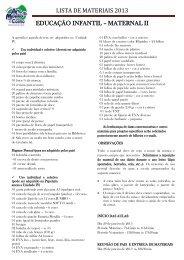 LISTA DE MATERIAIS 2013 EDUCAÇÃO INFANTIL – MATERNAL II