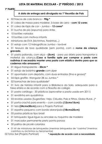 Lista de Material do 2º período 2013