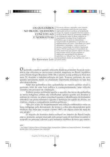 os quilombos no brasil: questões conceituais e normativas - CEAS