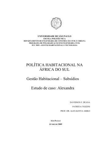 POLÍTICA HABITACIONAL NA ÁFRICA DO SUL Gestão ... - PCC-5839