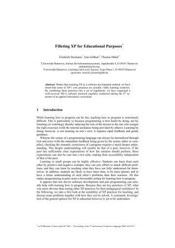 Filleting XP for Educational Purposes*