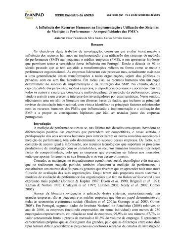 A Influência dos Recursos Humanos na Implementação e ... - Anpad
