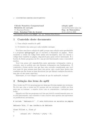 1 Conteúdo deste documento 2 Soluç˜ao dos itens do ap02