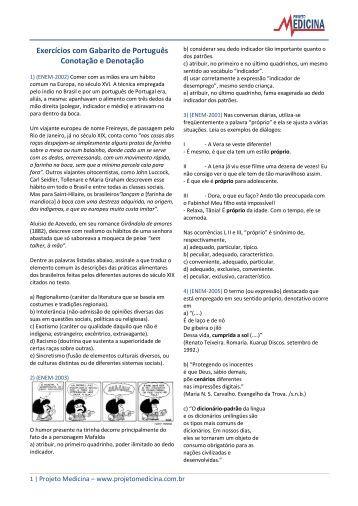 Conotação e Denotação - Exercícios - Projeto Medicina