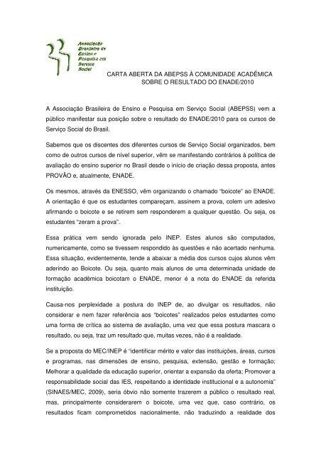 CARTA ABERTA DA ABEPSS À COMUNIDADE ... - unirb