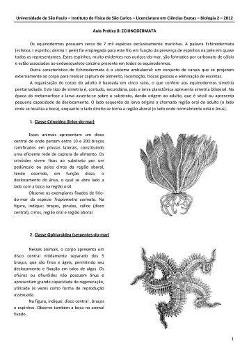 Aula Prática 1: PROTOZOÁRIOS - Laboratório de Biologia - IFSC