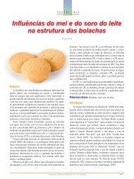 Influências do mel e do soro do leite na estrutura das bolachas