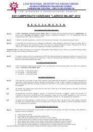 """xxv campeonato varzeano """"laércio milaní""""-2012 regulamento"""