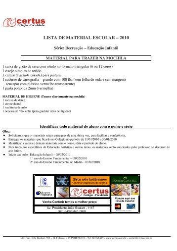 LISTA DE MATERIAL ESCOLAR – 2010 - Certus