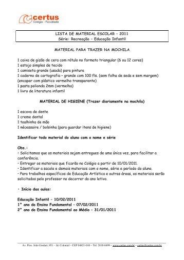 LISTA DE MATERIAL ESCOLAR – 2011 Série - Certus
