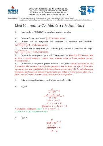 Lista 10 – Análise Combinatória e Probabilidade
