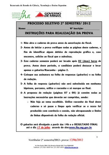 Prova Vestibular 2º semestre / 2012