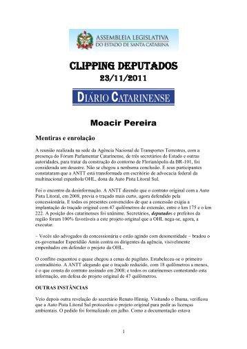 clipping deputados - Assembléia Legislativa - Governo do Estado ...
