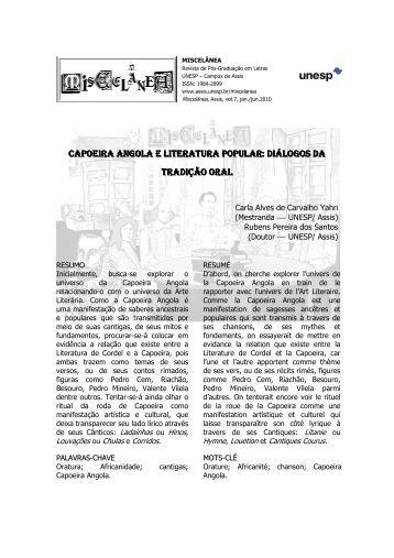capoeira angola e literatura popular: diálogos da tradição oral - Unesp