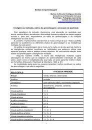 Estilos de Aprendizagem e Inteligências Múltiplas - Secretaria ...