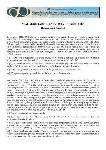 análise de dados: sexta lista de exercícios - Professores da UFF