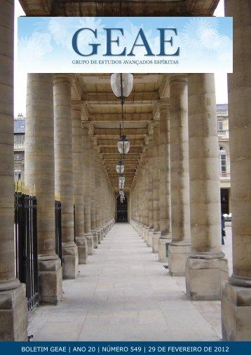 Boletim GEAE 549 - Grupo de Estudos Avançados Espíritas
