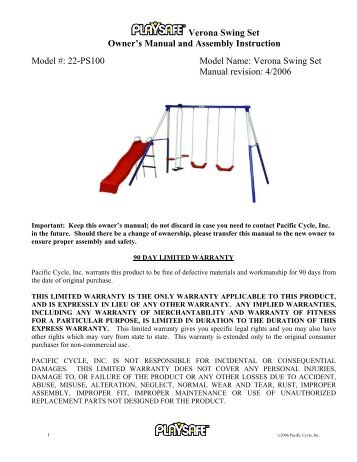 verona swing set owner s manual and assembly instep net rh yumpu com Weider Pro 4250 Assembly Manual Assembly Instruction Manuals