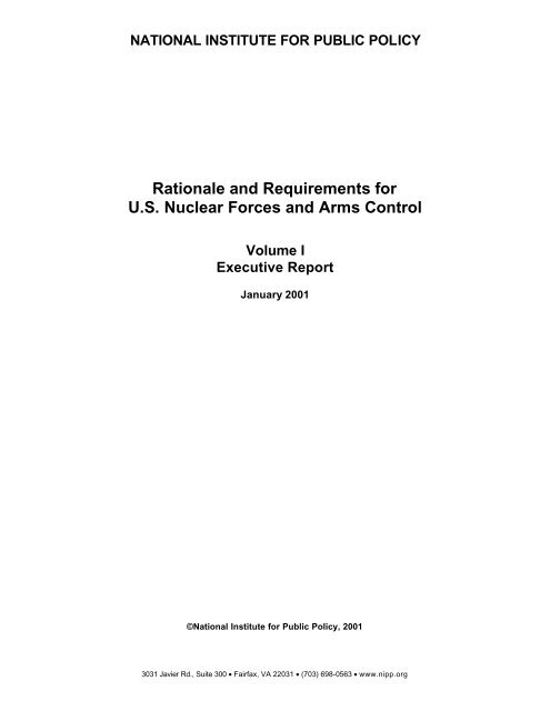 Rationale and Requirements for US Nuclear Forces and Arms Control