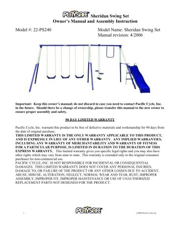 Verona Swing Set Owner S Manual And Assembly Instep Net