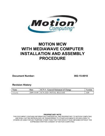 Motion MCW with MediaWave Computer – Installation and Assembly