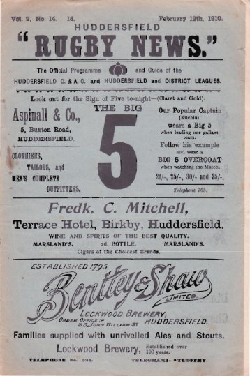 1910 v Leeds - Huddersfield Rugby League Heritage