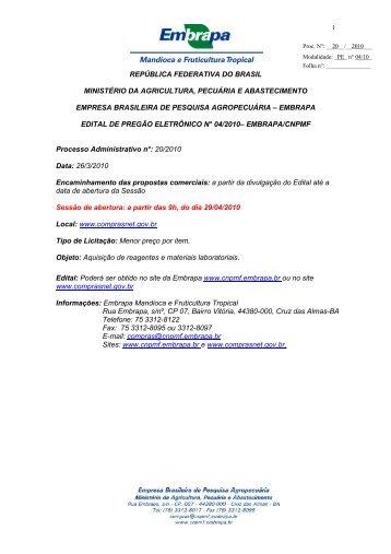 Pregão Eletrônico nº 04/2010 Objeto: Aquisição de - Embrapa ...