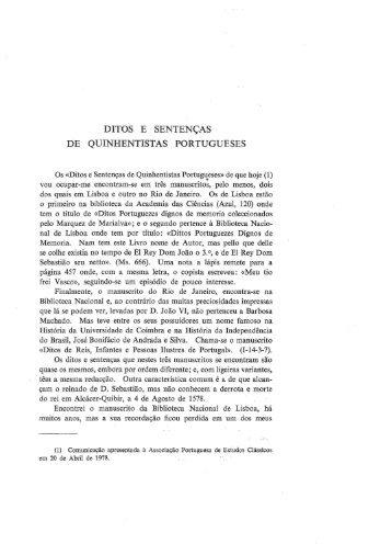 Ditos e Sentenças de Quinhentistas Portugueses - Universidade de ...