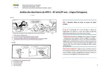 Análise dos descritores da APR II – 8ª série/9º ano – Língua ... - Seduc