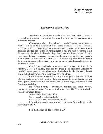 PROC. Nº 9639/07 PLL Nº 320/07 EXPOSIÇÃO DE MOTIVOS ...