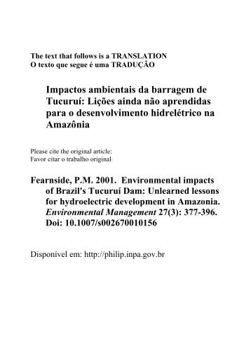 Impactos ambientais da barragem de Tucuruí - Philip M. Fearnside ...