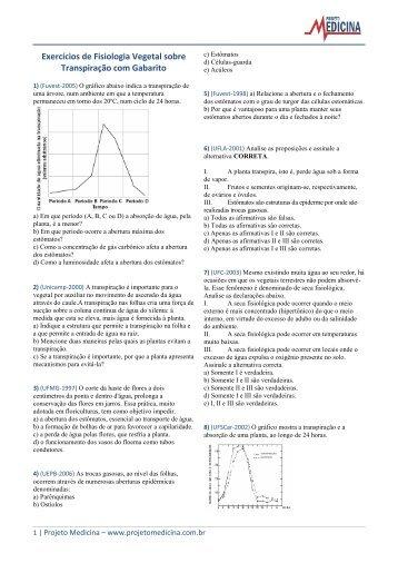 Exercícios sobre Transpiração - Projeto Medicina