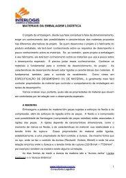 MATERIAIS DA EMBALAGEM LOGSTICA - Interlogis